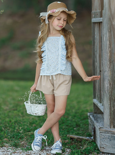 girls spring light blue with daisies top and beige shorts with drawstring 2T-10Y