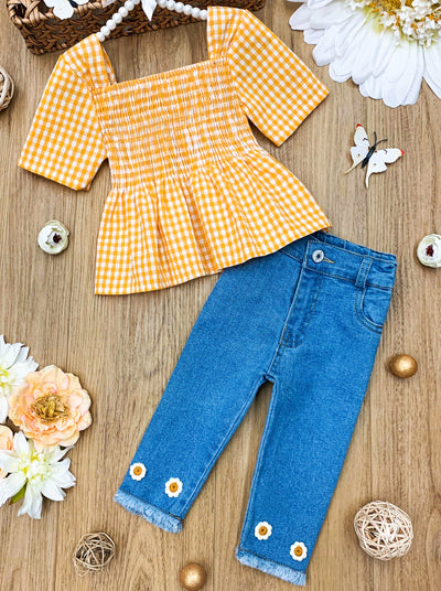 Girls Yellow Paid Tunic and Denim Capri Set 2T-10Y