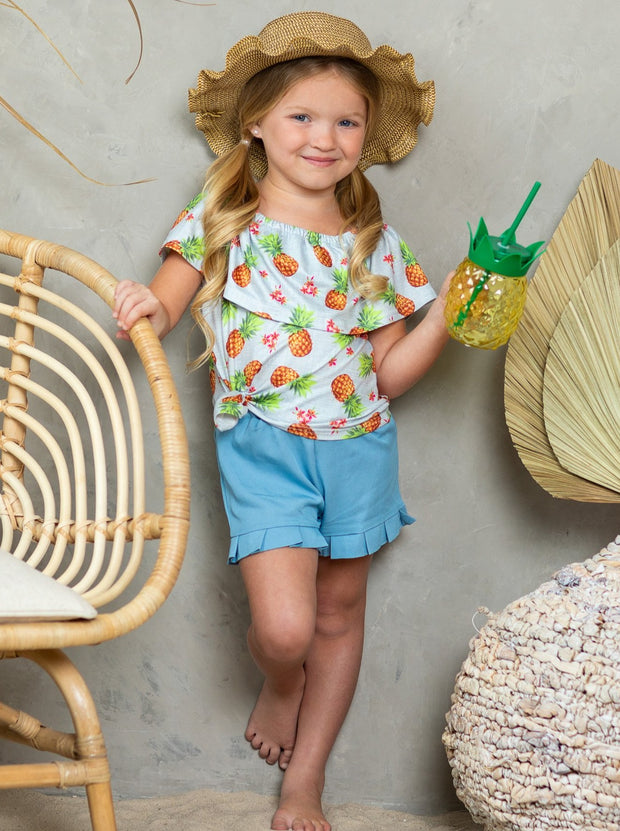 girls spring pineapple printed off-shoulder top and light blue suspender shorts 2T-10Y