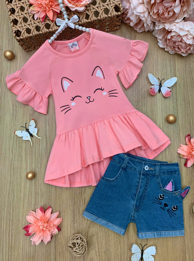 girls spring ruffled pink top with kitten face and denim short 2T-10Y