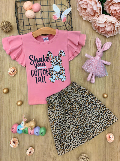 Girls Pink ruffled Shake Your Cotton Tail Top and leopard  Skirt Set 2T-10Y