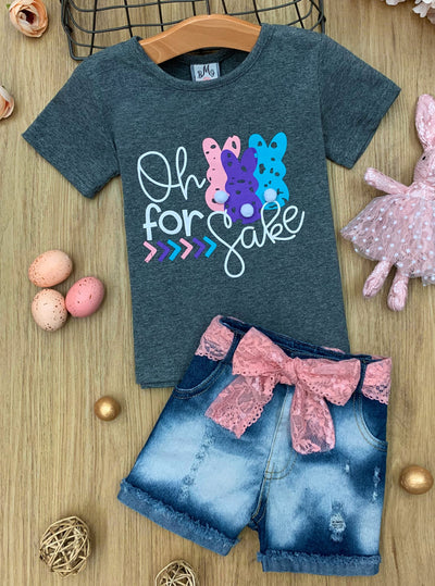 girls grey oh for bunnies sake top with denim short with pink sash 2T-10Y