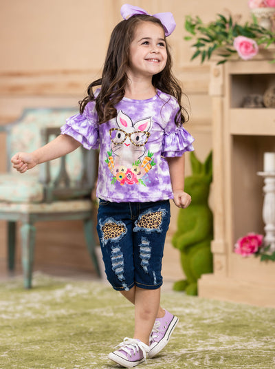 girls easter purple tie dye top with bunny print and patched jeans with tie dye sash 2T-10Y