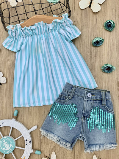 GIRLS SPRING a striped top with distressed denim shorts with sequin patches 2t-10y