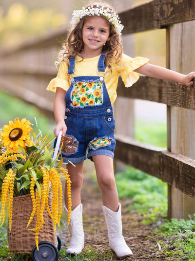 girls ruffled short sleeved top polka dot yellow top and patched denim overall shorts 2T-10Y