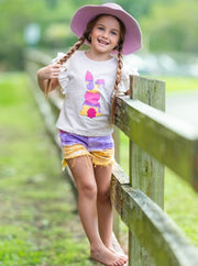 girls Easter grey top with colorful bunny print and distressed tie-dye denim shorts 2T-10Y
