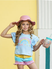 "Girls set features a light blue ruffled top with ""Good Vibes"" graphics and tie-dye denim short"