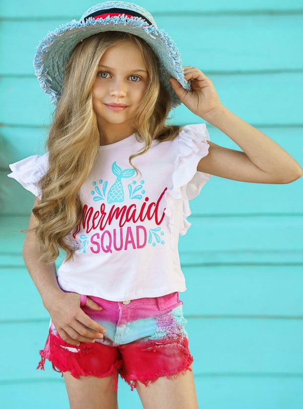 "Girls set features a white ruffled top with ""Mermaid Squad"" graphics and tie-dye denim short"