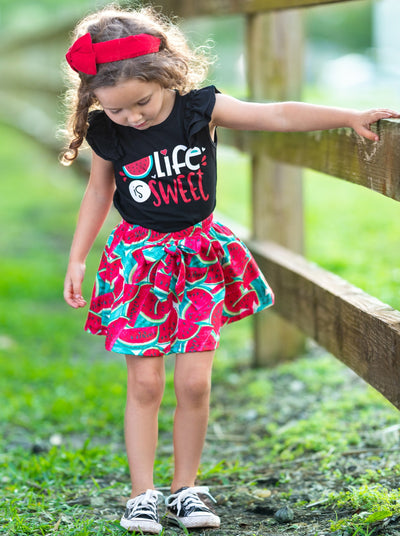 "Girls Spring black top with ""Life is Sweet""print and skirt with watermelon print 2T-10Y"