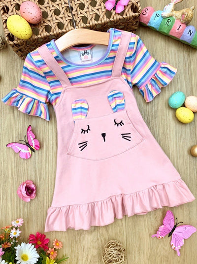 Girls Easter striped top with ruffled short sleeves and an overall dress with a front pocket and bunny face and bunny ears Set 2T-10Y  pink