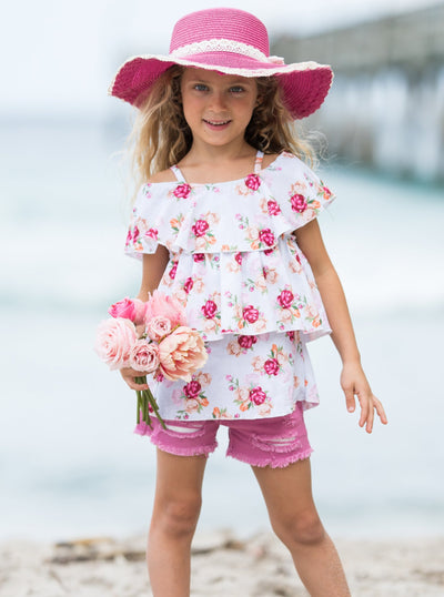 Girls Spring floral off-shoulder top with ruffles and lilac distressed denim shorts 2T-10Y
