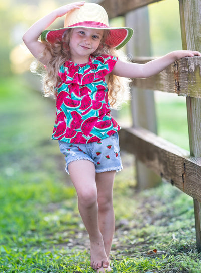 Girls Spring off-shoulder top with ruffles and watermelon print and distressed denim shorts with little watermelons 2T-10Y