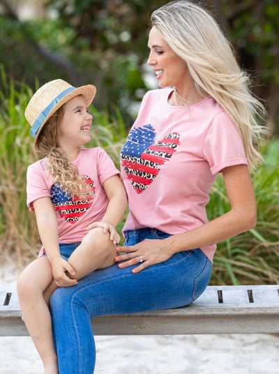 Mommy and Me Pink Patriotic Heart Top with animal print