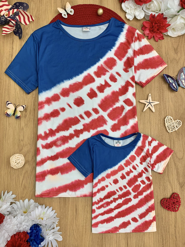 Mommy and Me top has a 4th of July themed tie-dye print