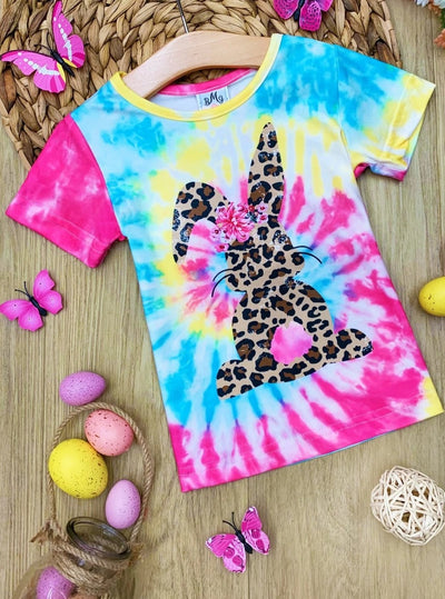 Girls Easter Tie Dye Top with leopard 2T-10Y