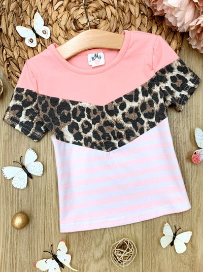 Girls Spring color block top features a pink bottom piece, leopard detail, and striped bottom 2T-10Y