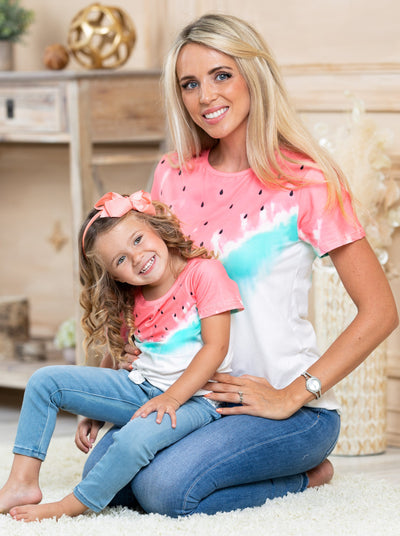 Mommy and me top features a watermelon tie-dye print