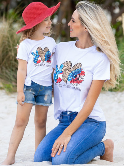 Mommy and Me Peace, Love, America 4th of July white short sleeved Top