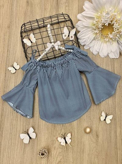 girls spring Black and white striped top with off the shoulder and kimono sleeves 2T-10Y