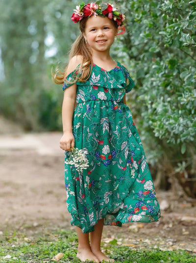 Girls Floral Boho Style Ruffled Dress - Girls Spring Casual Dress