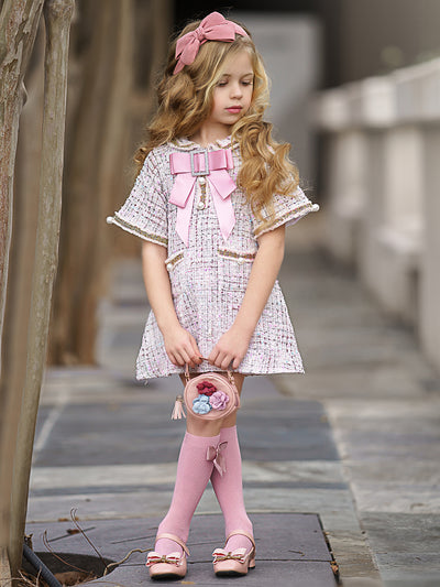 Girls Tweed Half Sleeve Collared Dress with Bow Applique & Pearl Accents
