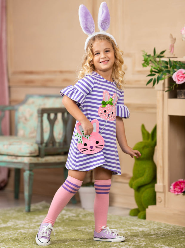 Girls Striped Bunny Applique Ruffled Sleeve Pocket Dress Socks and Purse Set - Purple / 2T - Girls Spring Casual Dress