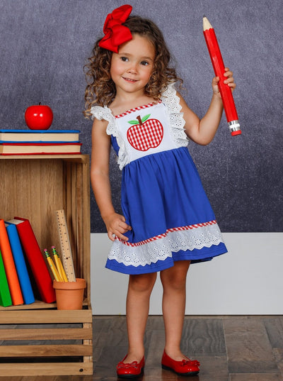 Girls Lace Ruffled Plaid Apple Dress