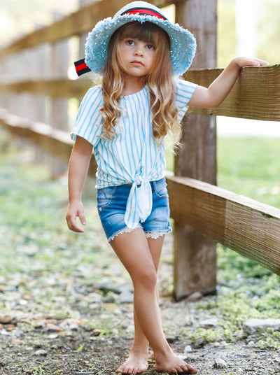 Girls Striped Knot Tie Top and Denim Shorts Set - Girls Spring Casual Set