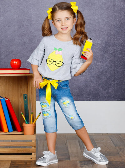 Girls Ruffled Lemon Applique Tunic & Belted Capri Jeans Set