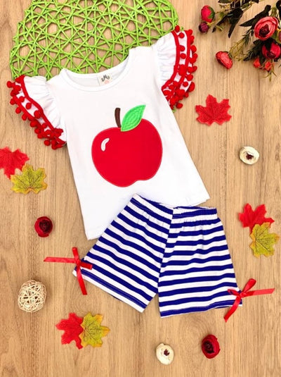 Girls Apple Pom Pom Top and Striped Shorts Set