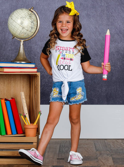 "Girls ""Smart is the New Cool"" Top and Patched Denim Shorts Set"