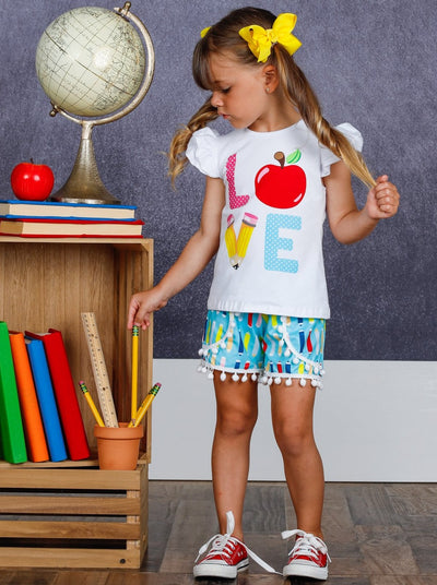 "Girls ""Love"" Apple Ruffled Top and Pencil Pom Pom Shorts Set"