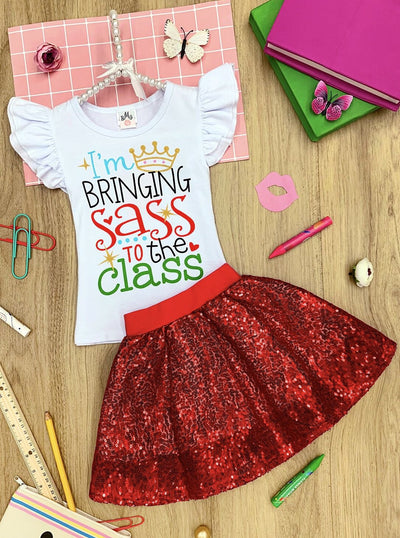 "Girls ""Bringing Sass to the Class"" Flutter Sleeve Top & Sequin Skirt Set"