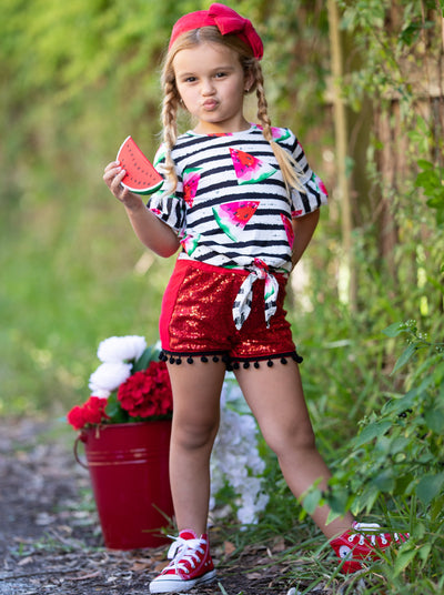 Girls Striped Watermelon Ruffled Knot Top and Sequin Pom Pom Shorts Set - Red / 2T - Girls Spring Casual Set