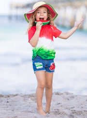 Girls Spring Set features a watermelon print top and patched denim shorts with matching fabric
