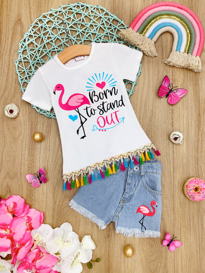 "Girls Flamingo ""Born to Stand Out"" Tassel Top and Denim Shorts Set"