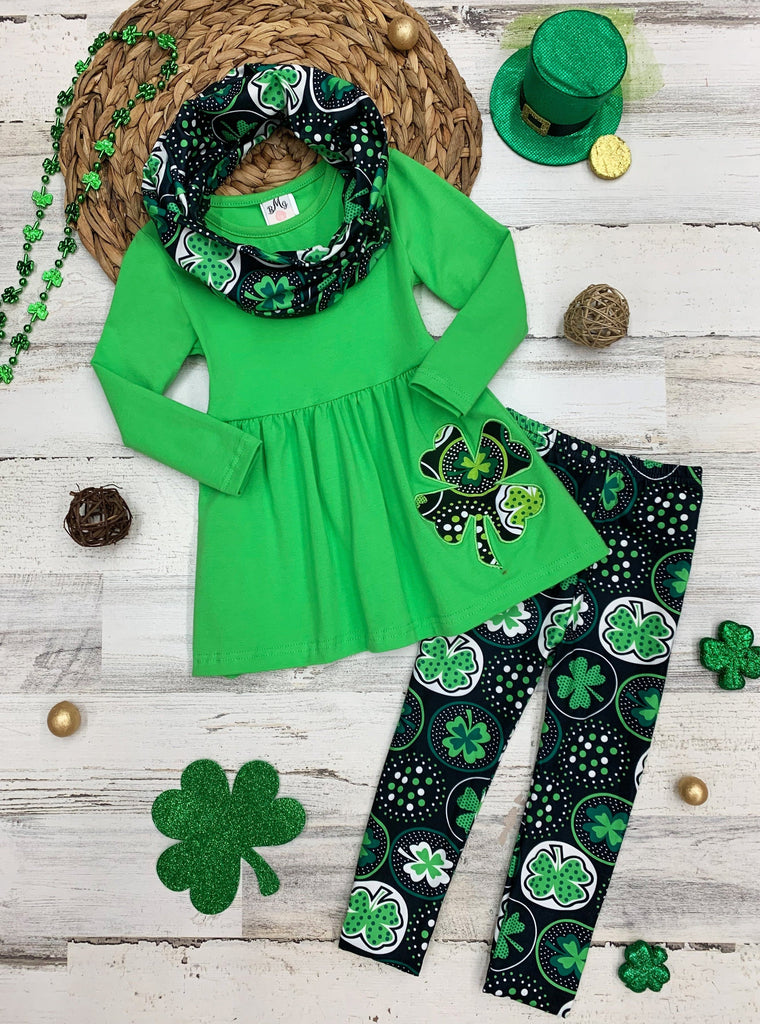Girls Green St. Patrick's Day Themed Clover Print Long Sleeve Tunic, Scarf & Leggings Set
