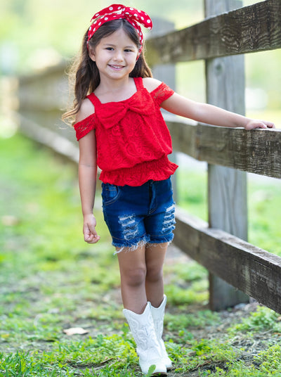Girls Red Lace Cold Shoulder Top with Bow and Distressed Denim Shorts