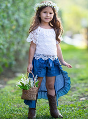 Girls Lacey Off Shoulder Top and Ruffled Denim Hi-Low Skirt Set - Girls Casual Spring Set