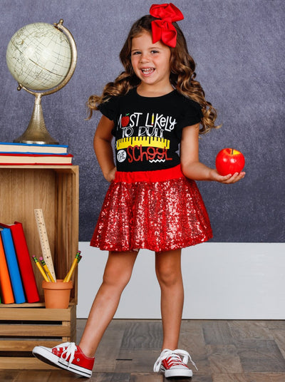 "Girls 1st Day of School ""Most Likely to Rule the School"" Printed Flutter Sleeve Top & Sequin Skirt Set"