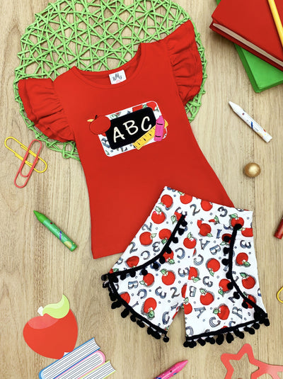 "Girls 1st Day of School ""ABC"" Flutter Sleeve Top & Pom Pom Numbers & Letters Printed Shorts Set"