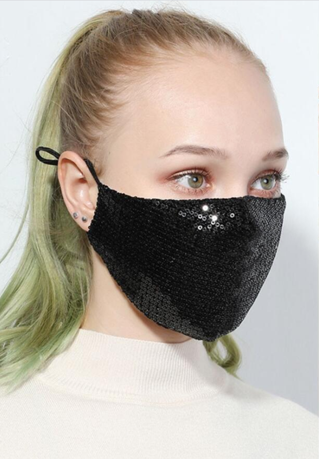 Adults Adjustable Glitter Sequin Reusable/Washable Face Masks