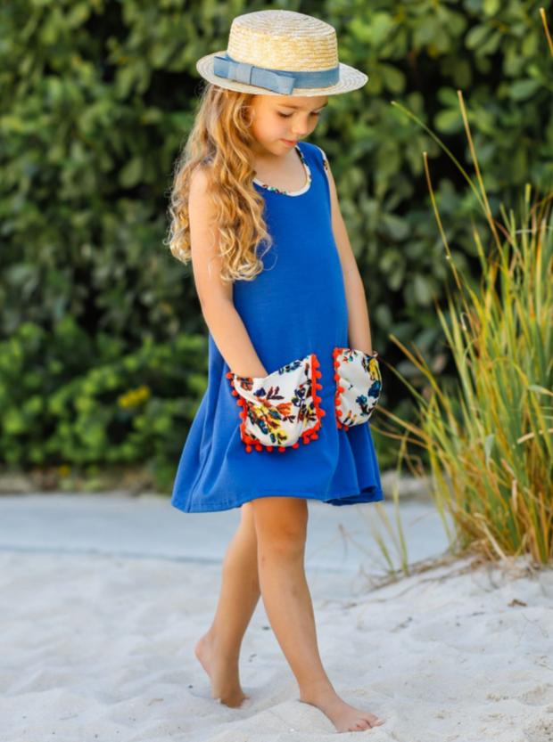 Girls Hi-Lo Slouchy Pocket Dress