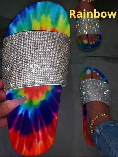 Women's Tie Dye Glitter Flat Slides By Liv and Mia