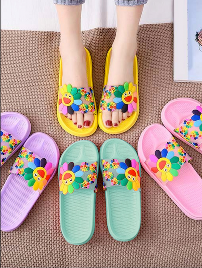 Women's Colorful Smile Sunflower Slides By Liv and Mia