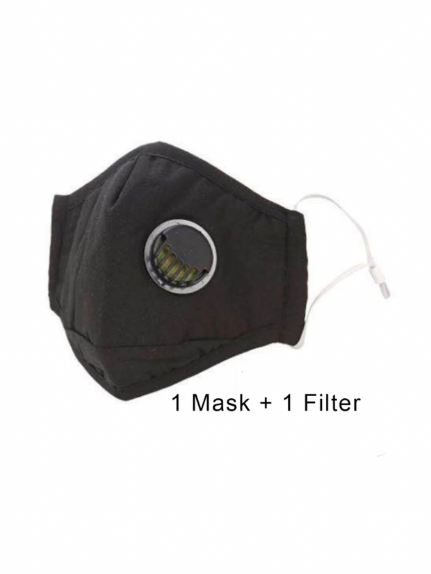 Adults Black with Airhole Reusable/Washable Face Masks with Filter