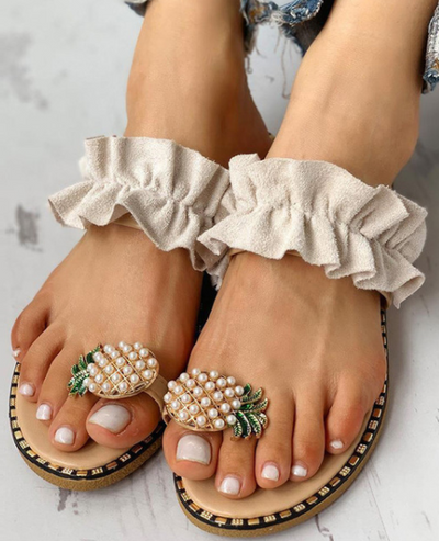 Women's Toe Ring Pineapple Sandals By Liv and Mia