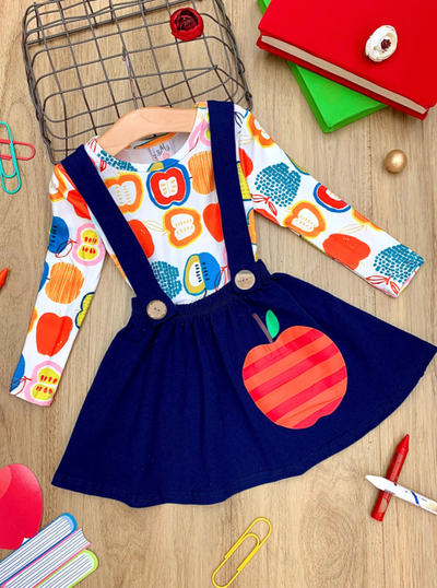 Girls Apple Print Top and Suspender Skirt Set