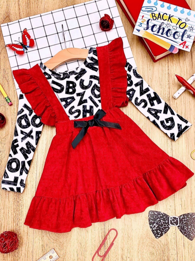 Girls School Print Top and Ruffled Suspender Skirt Set