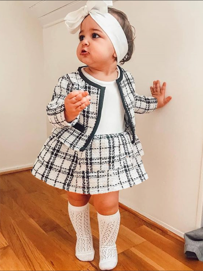 Girls Plaid Flare Dress and Coat Set